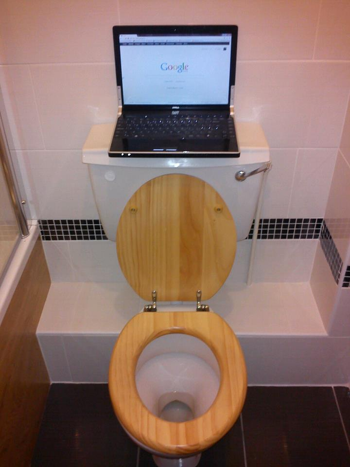 Sit backwards and your WC becomes 'Internet Booth'