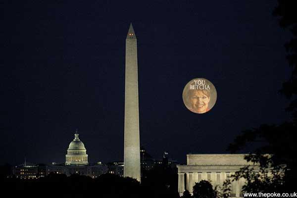 banksy projects sarah palin onto the moon