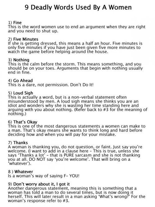 9 deadly words used by women The Poke Daily Mail Uk