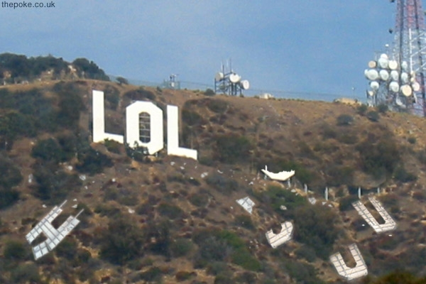 lol hollywood sign attacked by pranksters