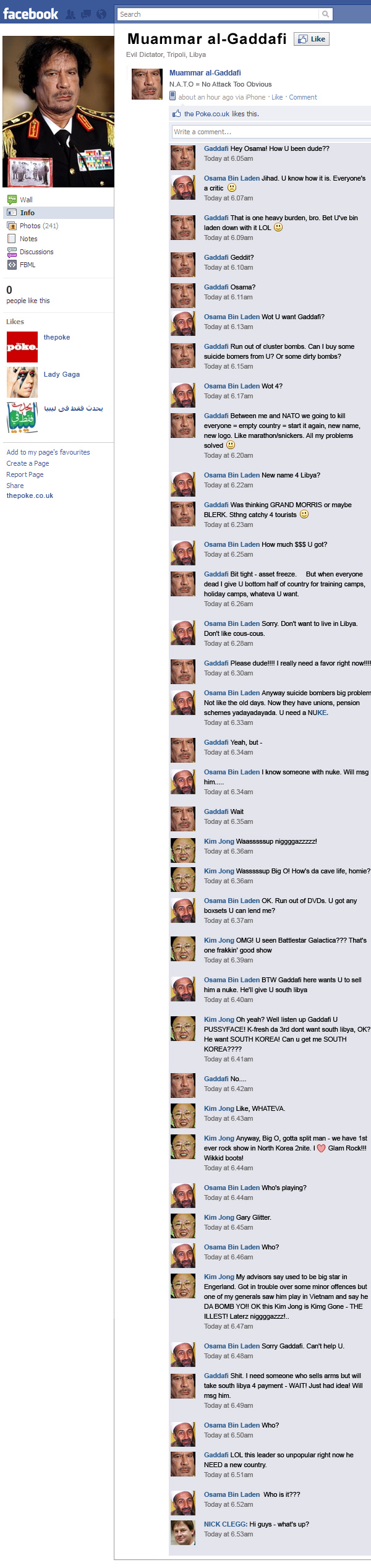 gaddafi's facebook page