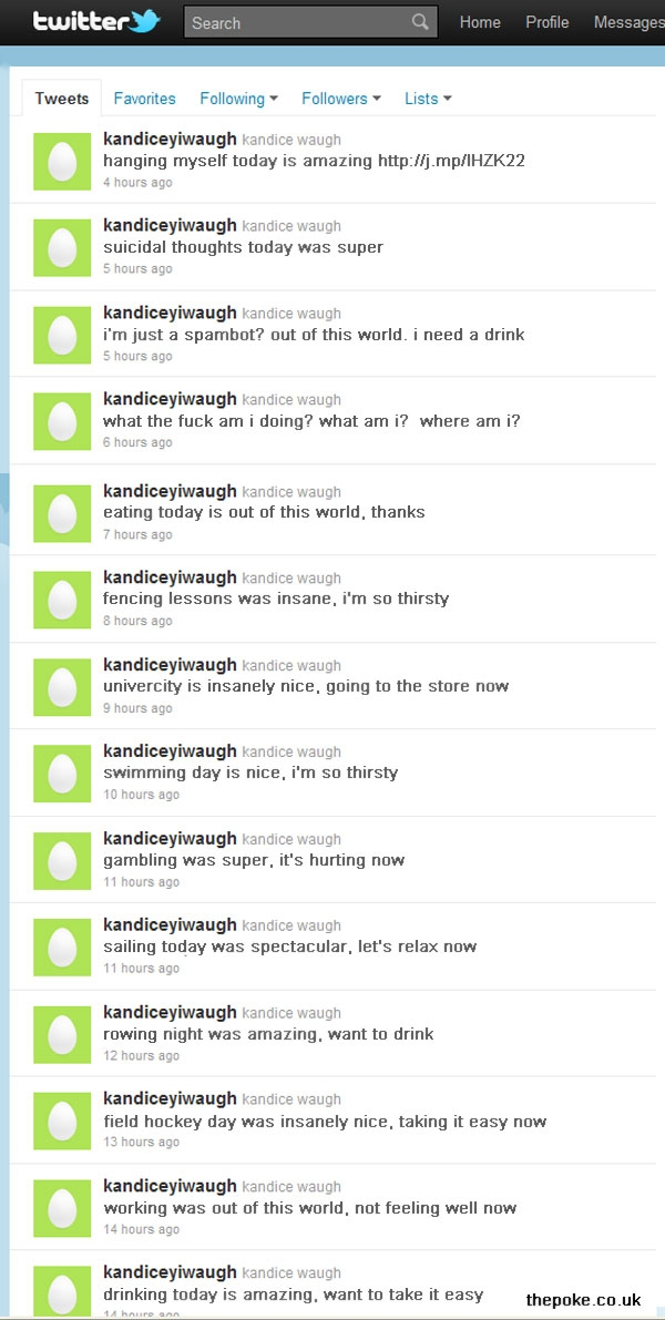 twitter spambot becomes sentient then kills itself