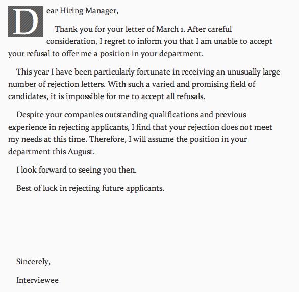 Application Rejection Letter Template Uk