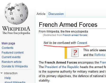 Wikipedia updates French army entry The Poke