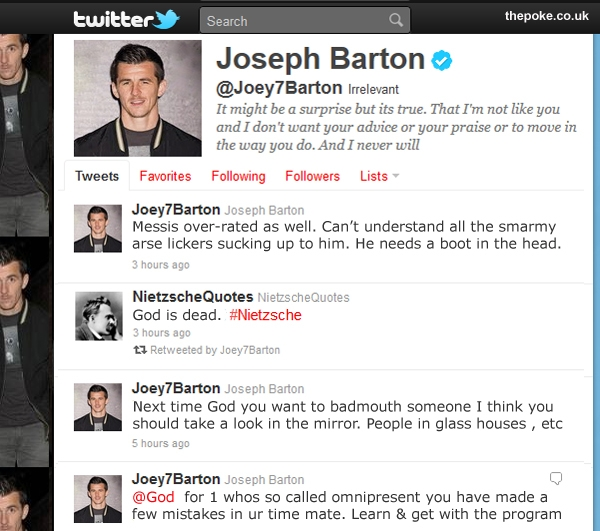 Joey Barton in new Twitter spat with God