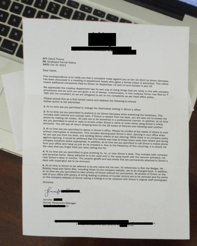 Office complaint letter of the week the poke next thecheapjerseys Image collections