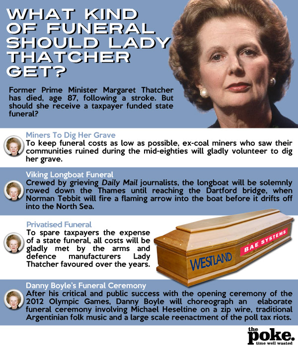 What Kind Of Funeral Should Lady Thatcher Get The Poke