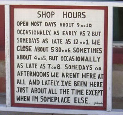 signs funny mechanic hours sign auto garage business opening notices meme names store open quotes repair closed shopping joke work