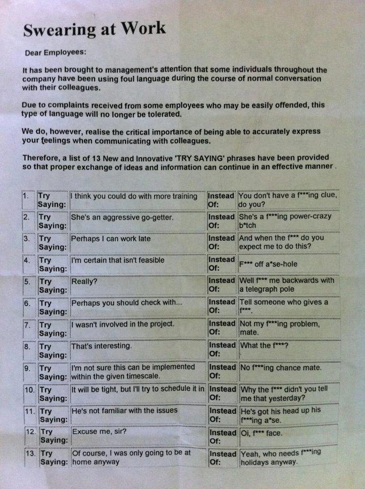 swearing at work try saying pdf
