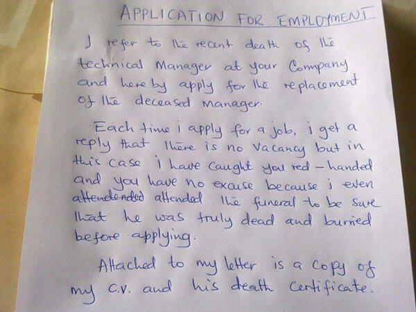 employment application of the day the poke