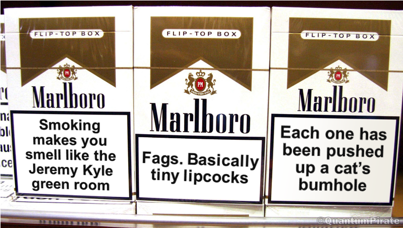 Cigarette packet health warnings take a new approach.
