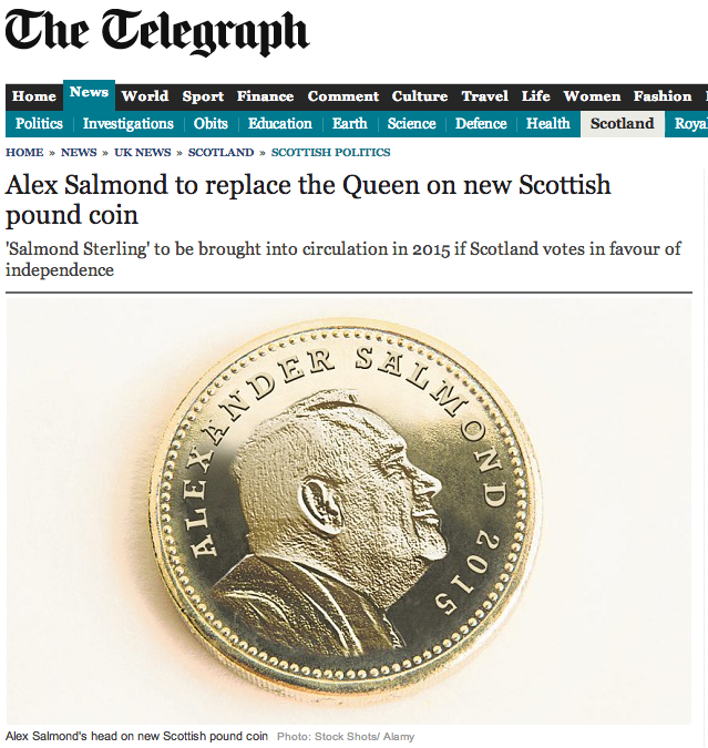 Alex Salmond to replace the Queen on new Scottish pound coin - Telegraph