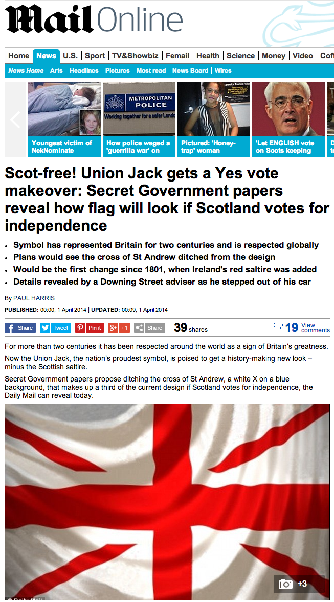 How Union Jack flag will look if Scotland votes for independence   Mail Online