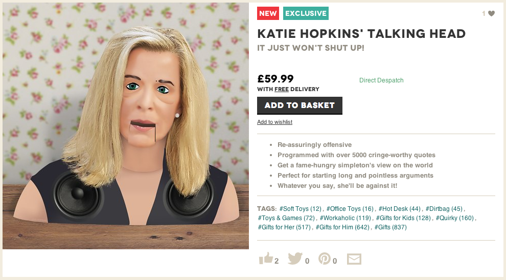 Katie Hopkins' Talking Head - buy at Firebox.com