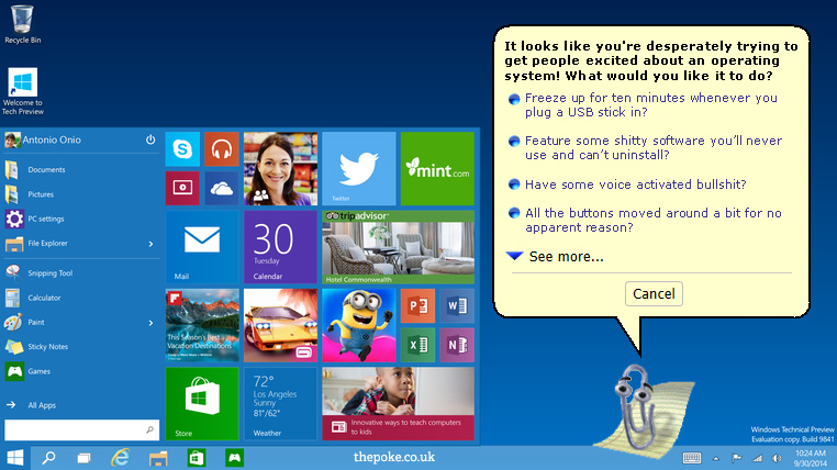 Microsoft Windows 10 To Feature Honest Clippy The Poke