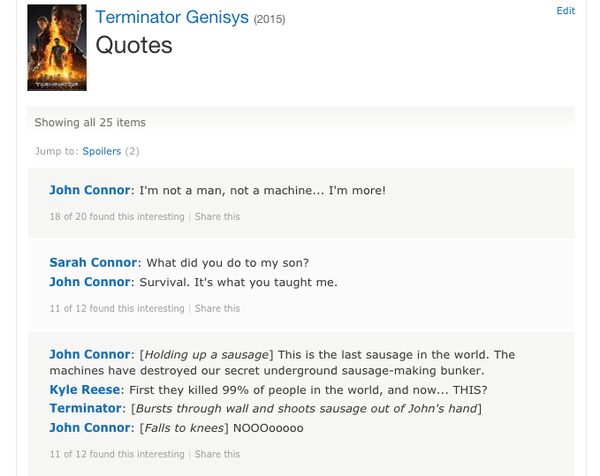 One Of The Quotes On Official Terminator Genysis IMDb Page Is