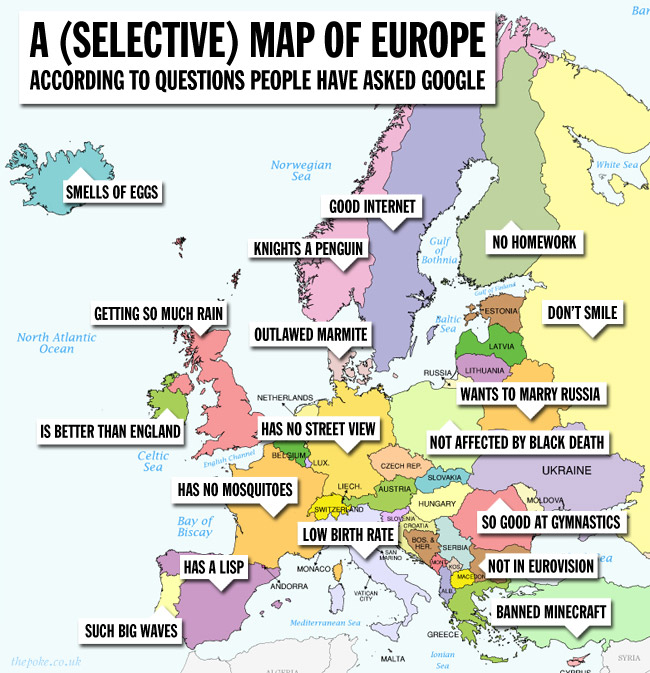 A Selective Map Of Europe According To Questions People Have