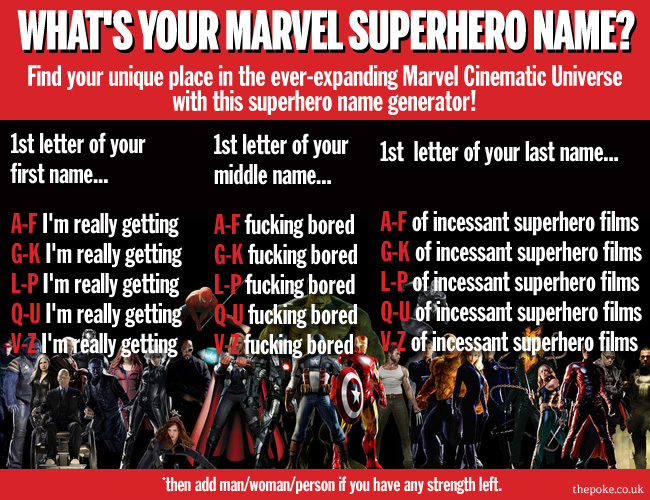 What's your Marvel superhero name? The Poke
