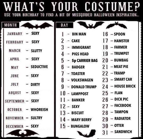 Misguided Halloween costume generator The Poke
