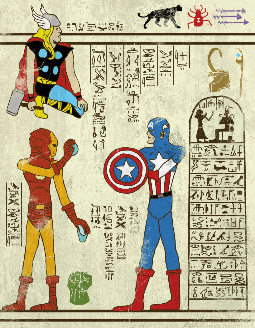 T Max 2018 >> Modern day superheros turned into ancient Egyptian hieroglyphics The Poke
