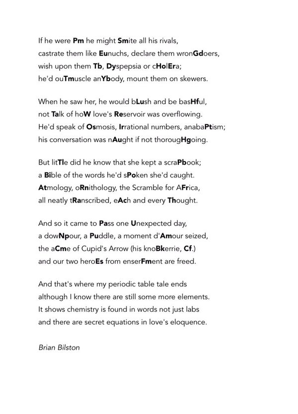 A Poem Containing The First 100 Elements Of The Periodic Table The Poke