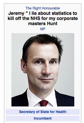 Image result for jeremy hunt lies poster photo