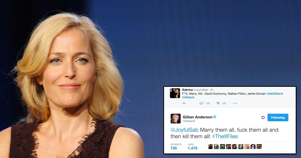 Gillian Anderson's answer to this 'f-ck, marry, kill' question makes us love her even more