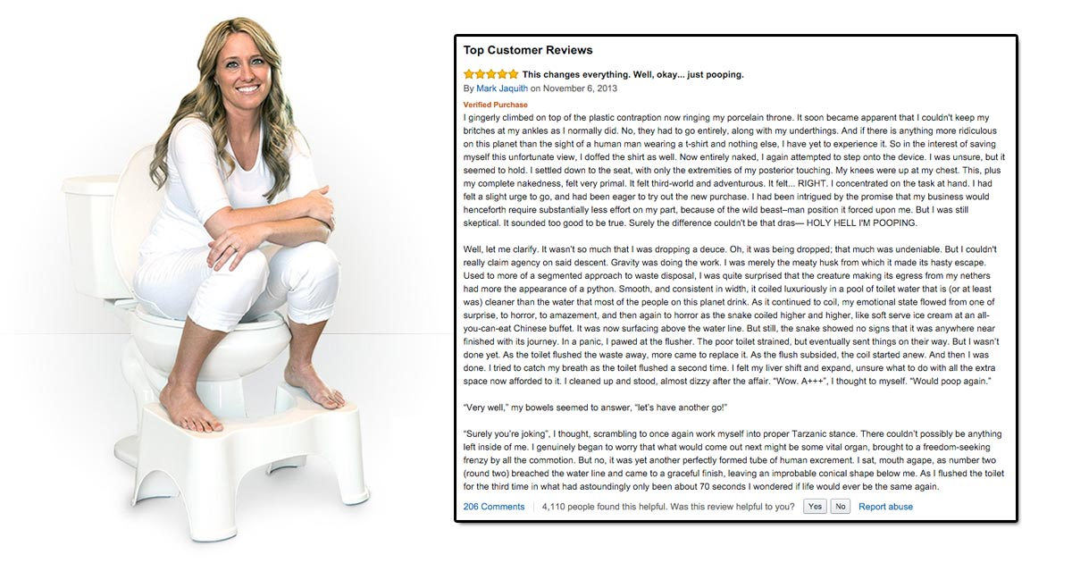 This 'adult potty' review on Amazon is quite simply the funniest review you'll read
