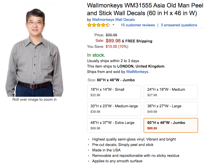 amazon are selling an asia old man you can stick on the wall amp. Black Bedroom Furniture Sets. Home Design Ideas