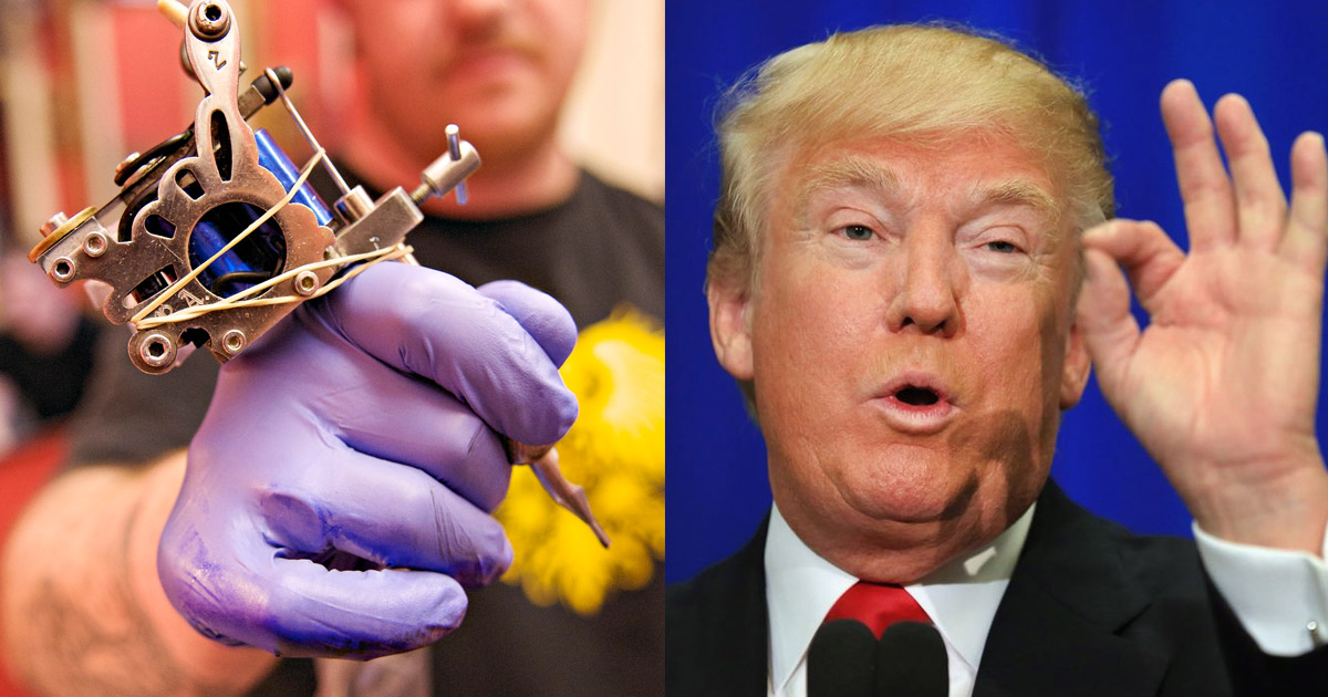 Tattoo artist Spooks Joya (Florida) made an offer to the world: If you  would get Donald Trump with a small penis tattooed onto yourself, he's do  the work ...
