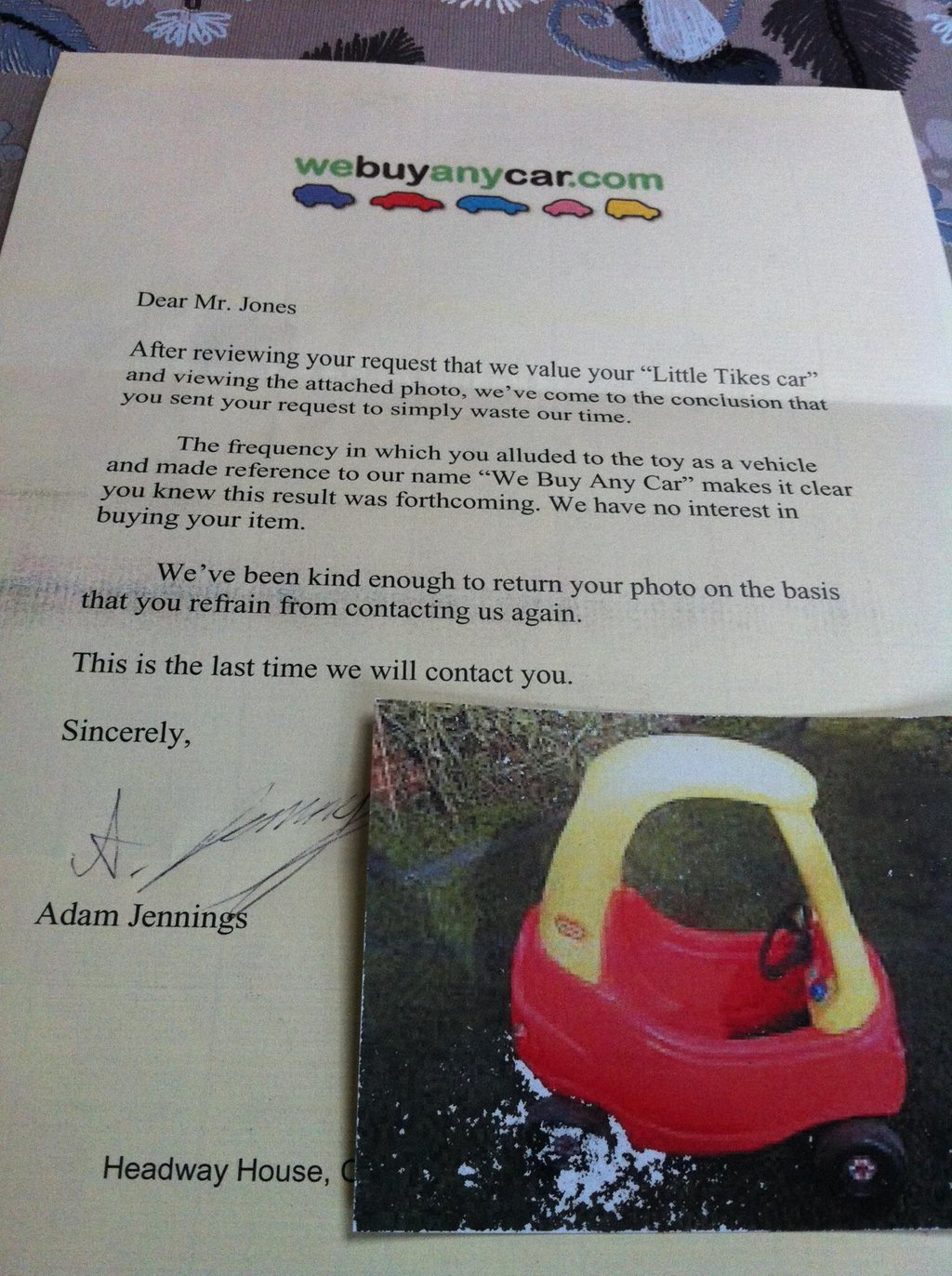 """This Rejection Letter From """"We Buy Any Car Dot Com"""" Is"""