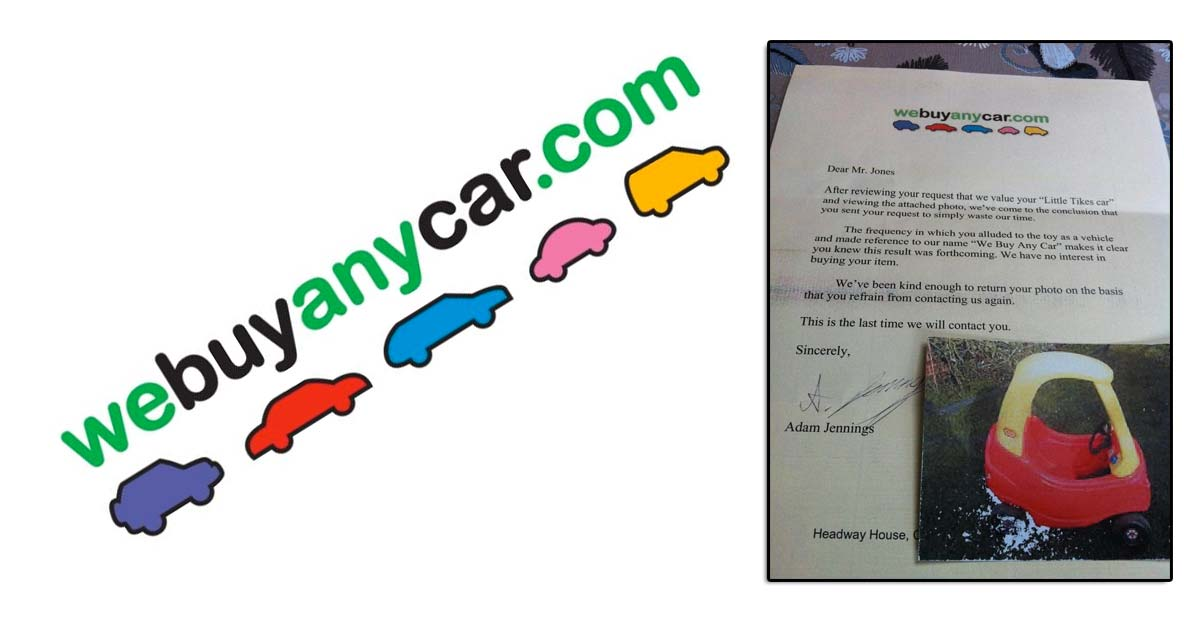 "This rejection letter from ""We Buy Any Car Dot Com"" is hilarious"