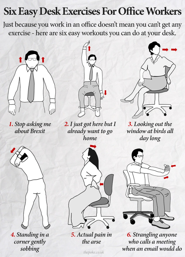 six easy desk exercises for office workers the poke