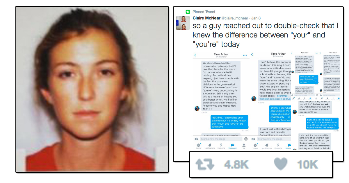 This woman's trolling of the guy who corrected her typo on Twitter is A++