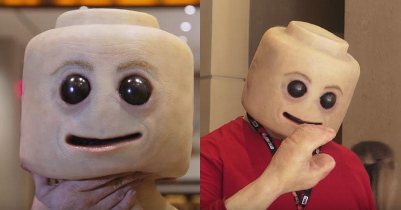 Man Makes An Incredibly Creepy Human Lego Head Mask The Poke