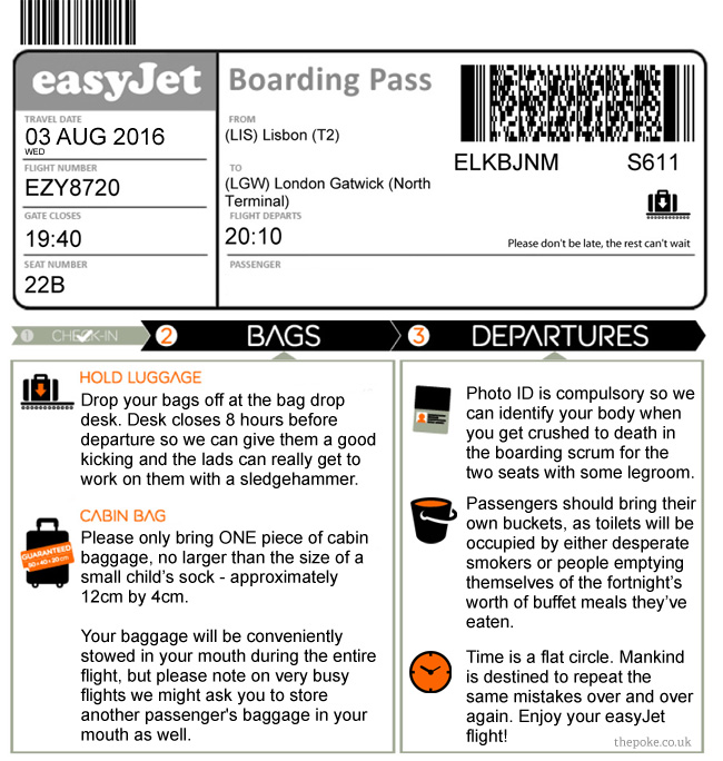 The new easyJet boarding pass really takes the fun out of ...