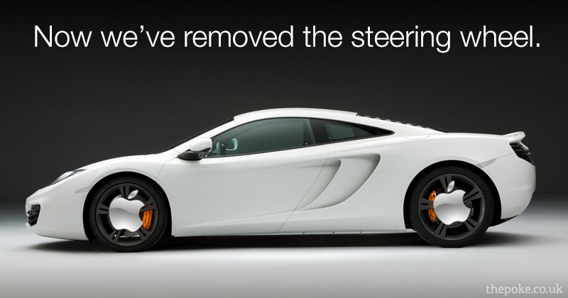 Apple's new luxury Mclaren car will get 3 foot to a gallon and use tyres that only they sell