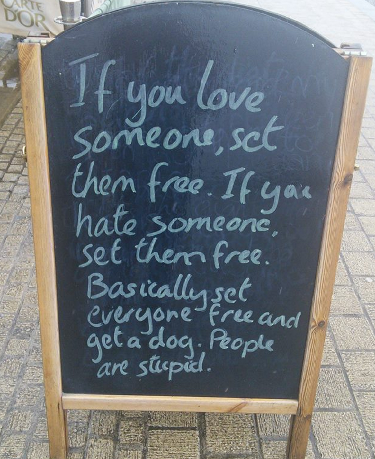 This café's sandwich board jokes are so cringe-making they border on genius
