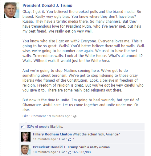 America Has Decided And Donald Trump Is Their New Commander In Chief Naturally The New President Elect Went On Facebook To Post A Message Of Hope