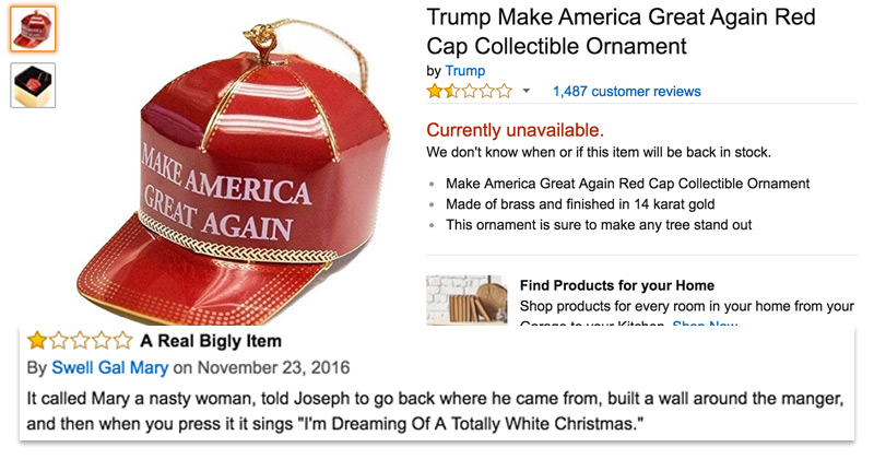 amazon users have flooded donald trumps 149 make america great again christmas ornament with bad reviews the poke
