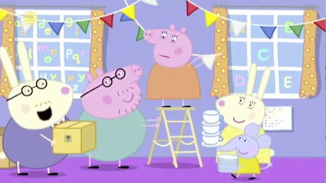 In this short Peppa Pig clip it sounds very VERY much like it's swearing. Naughty Mr Rabbit!