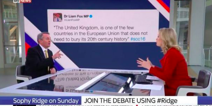 Tory MP denies sending controversial tweet while sat in front of giant picture of it