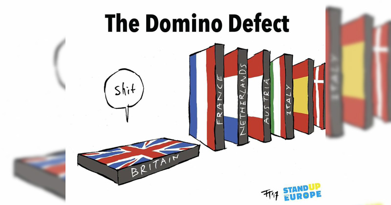 """A cartoon about Brexit and the """"domino defect"""" The Poke"""
