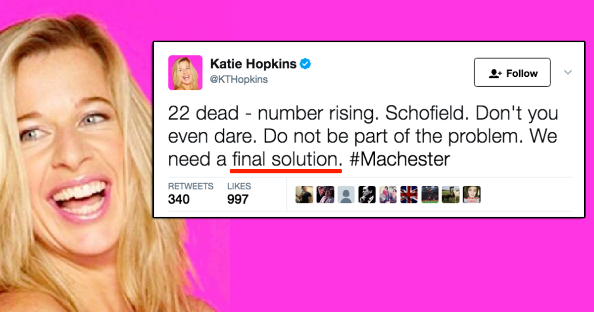 katie hopkins response to article Thanks for signing up as a global citizen katie hopkins will no longer host her weekly radio show on lbc after a huge backlash to her response to the manchester.