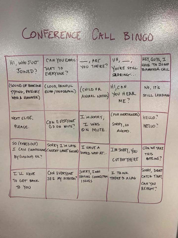 Anyone for a game of conference call bingo? - The Poke