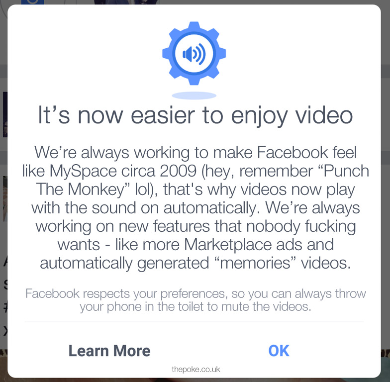 Facebook justify why videos automatically play with the sound on