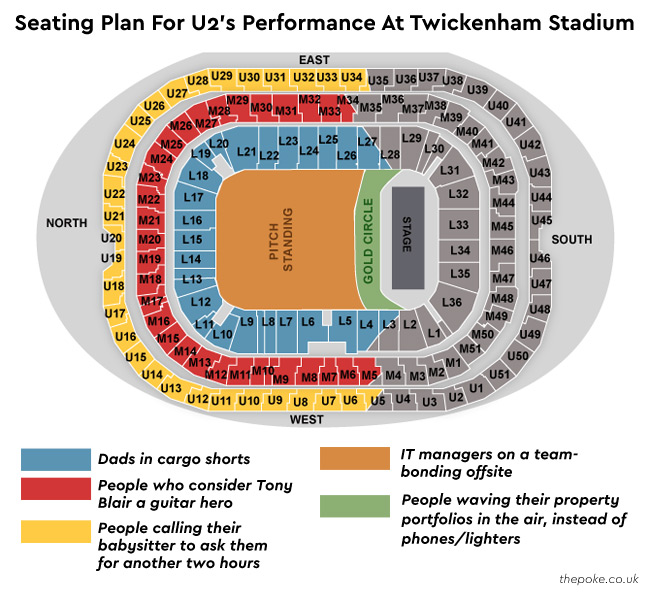 Here S The Seating Plan For Tonight S U2 Gig At Twickenham