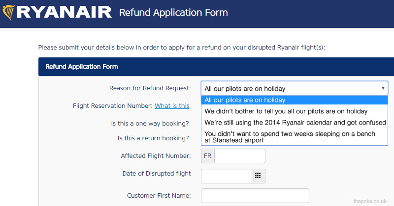Ryanair update their refund form after all those flight ryanair update their refund form after all those flight cancellations altavistaventures Images