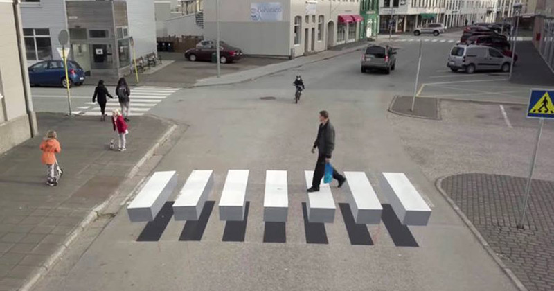 Line Drawing Of Zebra Crossing : Town in iceland paints a d pedestrian crossing to slow