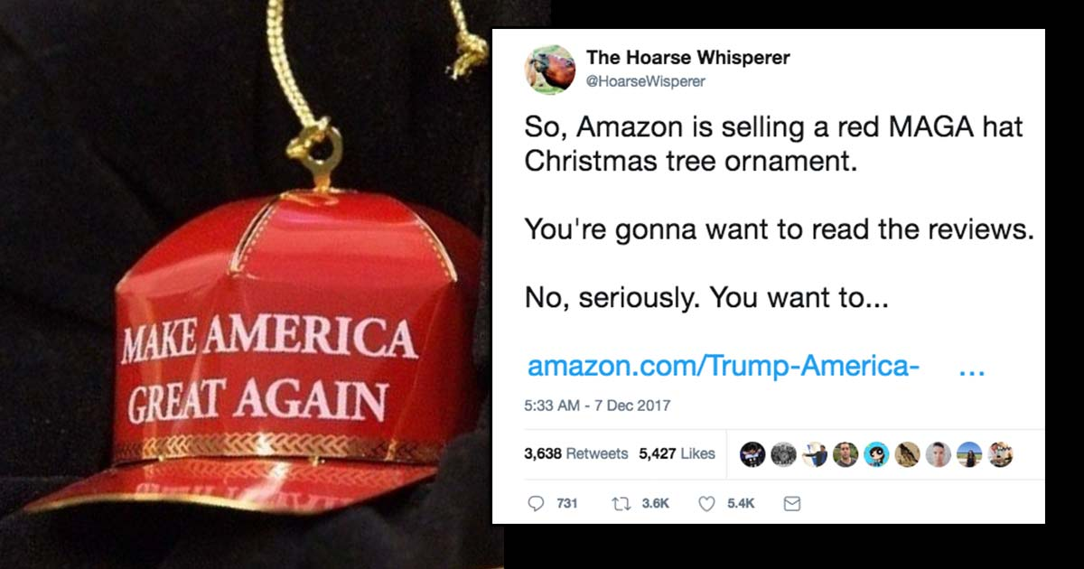amazon reviews of a make america great again christmas tree decoration are going viral because everyone is taking the piss